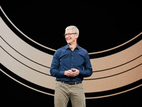 Apple CEO Tim Cook on stage.