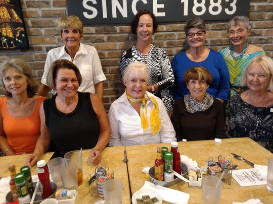 The Marco Island Woman's Club enjoyed lunch at Petit Soleil on June 7. From left, botton: Carol Ann Anzalone, Austine Frawley, Caitlin Robinson, Lee Turner and Susan Ediss; top:  Debbie Silvestri, Julia Maslanka, Aren Alter and Cristina Leske.