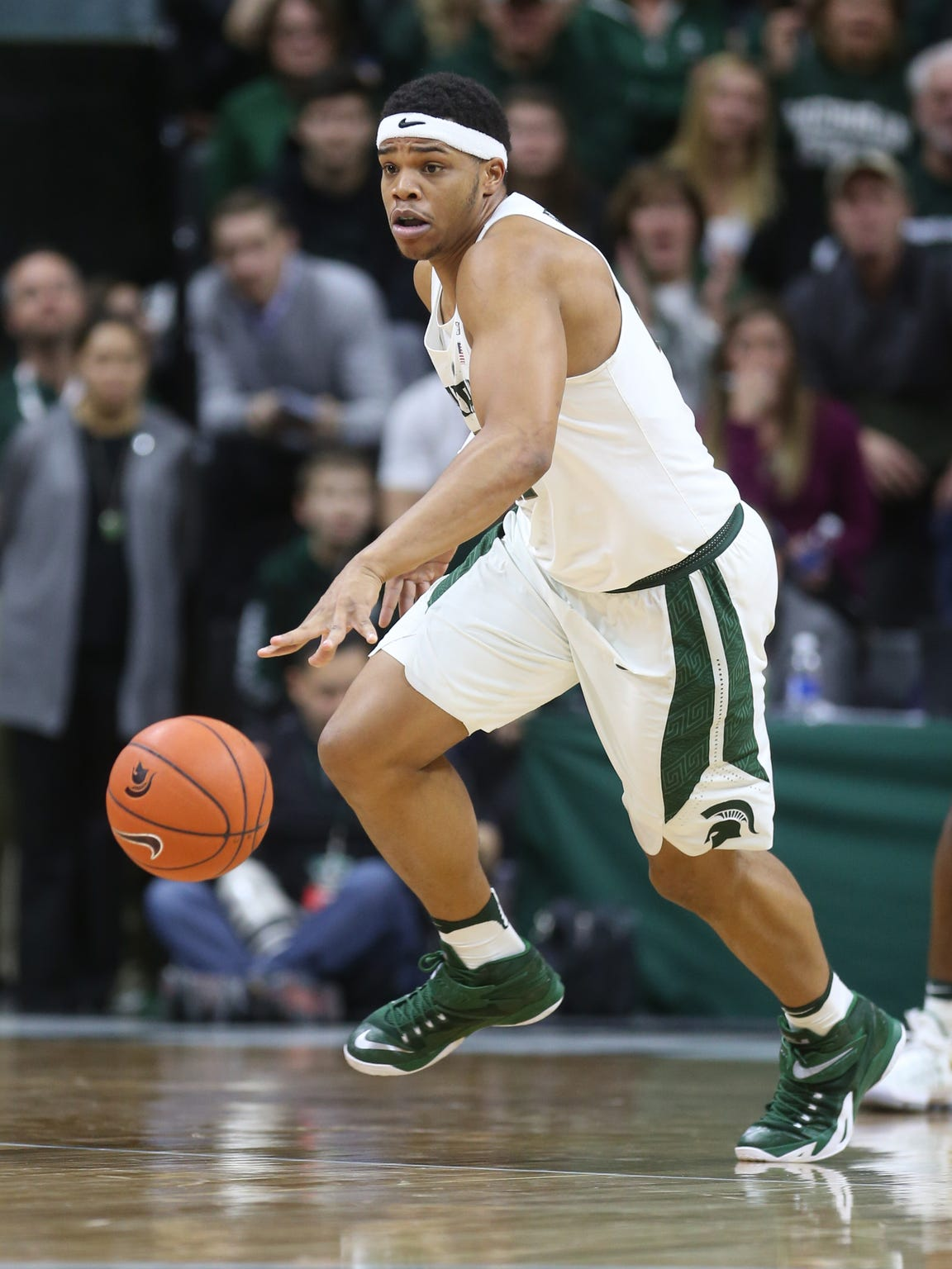 Michigan State Spartans forward Miles Bridges gets the loose ball during the second half against Rutgers on Wednesday, Jan. 4, 2017 at Breslin Center in East Lansing.