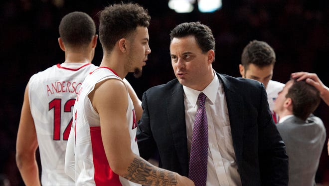 Nov 19, 2015: Arizona Wildcats head coach Sean Miller talks to guard Gabe York (1) during the second half against the Boise State Broncos at McKale Center. Arizona won 88-76.