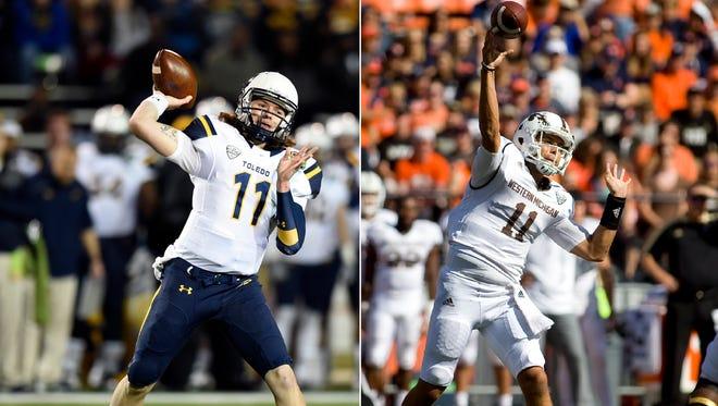 Left: Toledo Rockets quarterback Logan Woodside. Right: Western Michigan Broncos quarterback Zach Terrell.