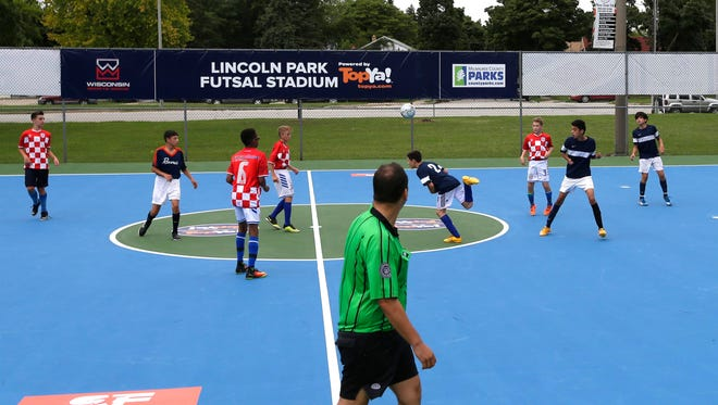 The Atotonilco Futsal team (blue) competed with the Croation Eagles Futsal team  (red) in a youth tournament at the Lincoln Park Futsal Stadium in August of  2016. A household survey found public support for improving existing park facilities rather than buying more parkland.