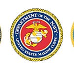 The seals of the U.S. military.