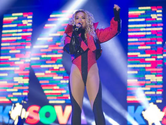 Rita Ora performs during her concert in Kosovo capital Pristina on Feb. 17, 2018.