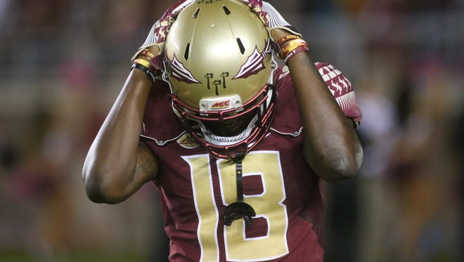 Auden Tate (18) reacts after losing to Clemson 37-34 at Doak Campbell Stadium on Saturday, October 29, 2016.
