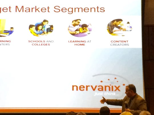 Dr. Steve Miller, chief scientist at Nervanix, makes a presentation at VenturePitch SWFL.