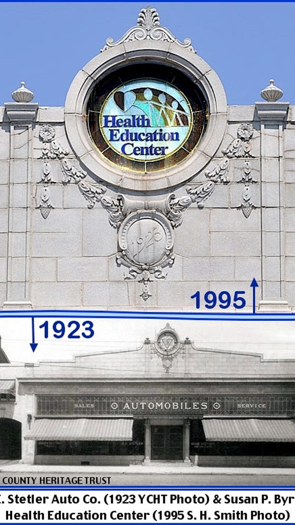 D. E. Stetler Auto Co. (1923 York County Heritage Trust photo) & Susan P. Byrnes Health Education Center (1995 S. H. Smith Photo)