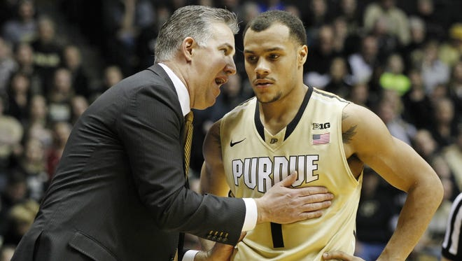 Purdue coach Matt Painter with a word for Bryson Scott during the Boilermakers' 83-67 victory over Indiana at Mackey Arena on Jan. 28.