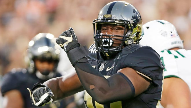 Keiwan Jones of Purdue reacts after stopping A.J. Ouellette of Ohio in the first quarter Friday, September 8, 2017, at Ross-Ade Stadium.
