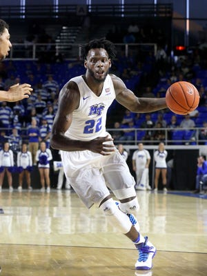 MTSU standout forward JaCorey Williams (22) returns home to Birmingham for the second time in two weeks.