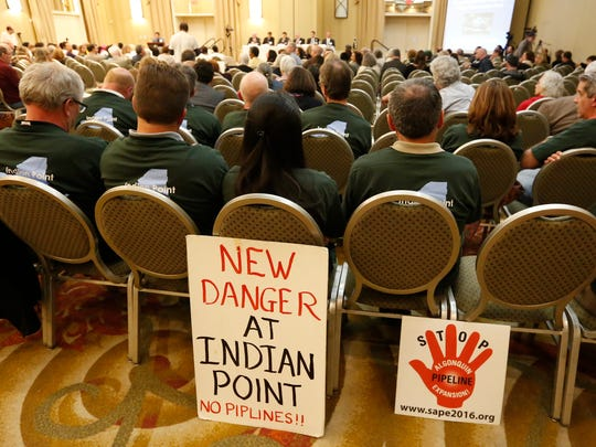 Proponents for both sides of Indian Point attend a public hearing with the Nuclear Regulatory Commission at Doubletree Hotel in Tarrytown on Wednesday, June 08, 2016.