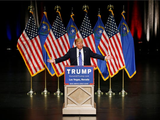 Trump would like to hug everyone who gave him first-place marks. (John Locher, AP)