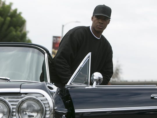 "Corey Hawkins as Dr. Dre in a scene from the film ""Straight Outta Compton."""