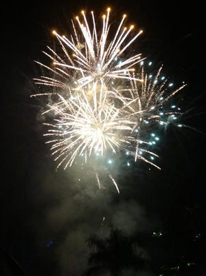 Fireworks like these from Bonita Springs can be seen by water. People can take their own vessels to see the shows or become passengers on special fireworks excursions.