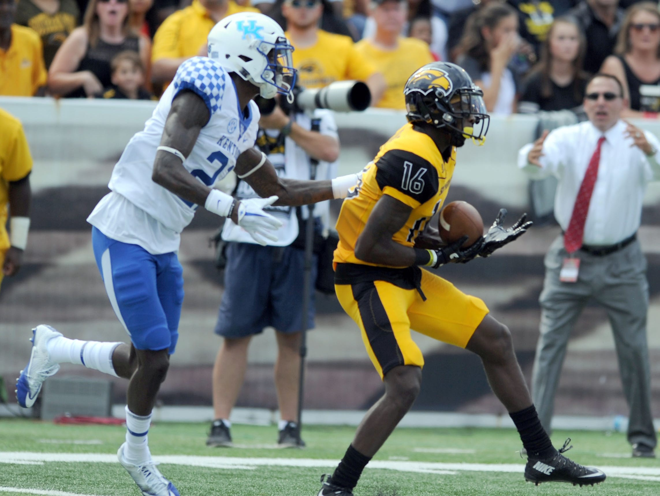 Southern Miss wide receiver Quez Watkins catches the ball in a game against Kentucky at M.M. Roberts Stadium on Saturday.