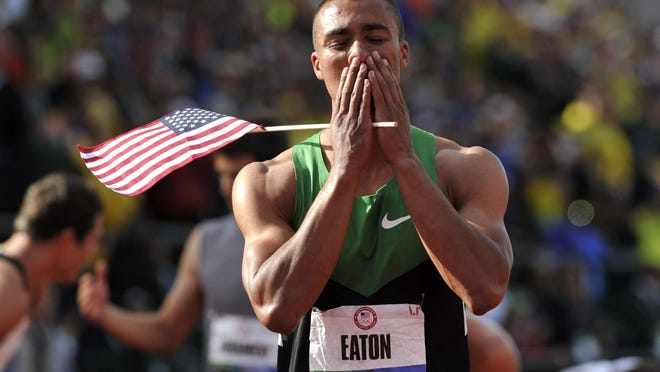 Oregon Track Club Elite's Ashton Eaton sets the world record in the decathlon with 9,039 points at the 2012 U.S. Olympic Track and Field Trials at Hayward Field.