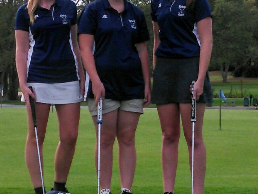 Enka golfers Kaitlinn Stewart, Jasmine Donaghue and Lauren Elliott.