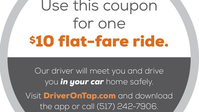 DriverOnTap coupon coaster.