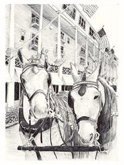 Pen and ink drawings by Chuck Schroeder are on display this month at the Village Theater at Cherry Hill in Canton.