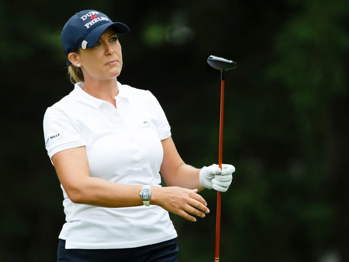 Cristie Kerr tees off on the 18th hole during the third round of the Marathon Classic LPGA golf tournament at Highland Meadows Golf Club on July 19, 2014.