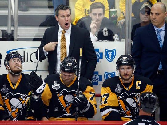 Pittsburgh Penguins head coach Mike Sullivan appeals