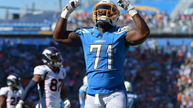 Los Angeles Chargers defensive tackle Damion Square (71) signed a free-agent contract with the Browns. [Jake Roth/USA TODAY Sports]