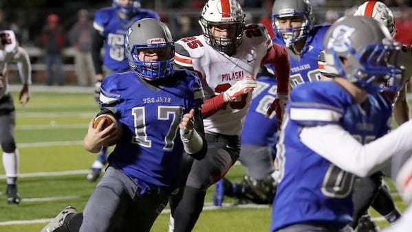 Southwest High School's Nick Howard cuts back on his way to the end zone against Pulaski Friday, October 27, 2017 in the D-2 WIAA second round playoffs at Southwest High School in Green Bay, Wis.