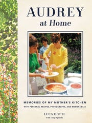 """The cover for the book """"Audrey at Home: Memories of My Mother's Kitchen"""" by Luca Dotti, son of Audrey Hepburn. The inspiration for the book came, Dotti says, from a binder he found in his mother's kitchen, filled with recipes and little notes."""