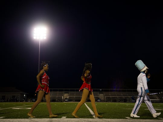 The Austin-East marching band takes the field during the Knox County Band Exhibition held at Farragut High School Thursday, Oct. 5, 2017.