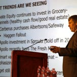 Douglas Munson, principal with MTN Retail Advisots, spoke about the grocery store market Wednesday at the ICSC retail conference at the Camino Real Hotel in Downtown El Paso.