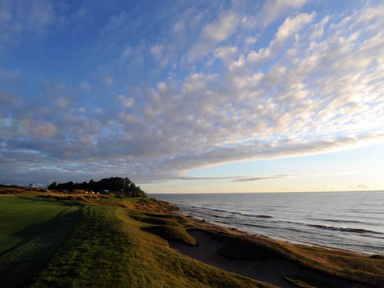 A general view of the 8th hole at sunrise before a practice round for the 2015 PGA Championship at Whistling Straits.