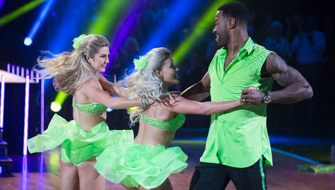 "Dancing With The Stars - ""Episode 2310"" - The five remaining couples advance to the semifinals in one of the show's tightest competitions ever. Former Detroit Lions receiver Calvin Johnson, right, dances during the competition Monday, Nov. 14."