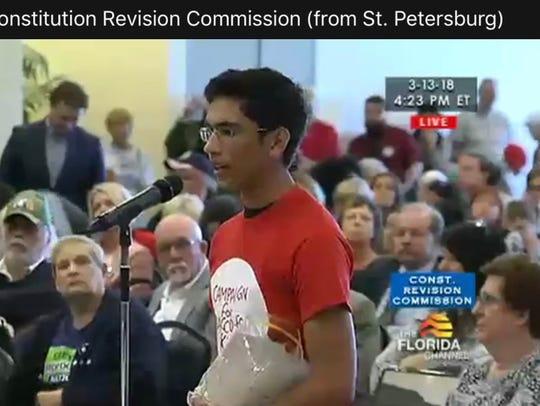 Sebastian Suarez speaking at the CRC public hearing.