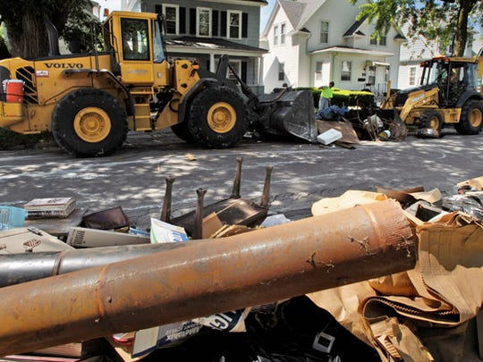 Photo from clean up efforts on Cotton Street in Fond du Lac, Wednesday, June 18, 2008.