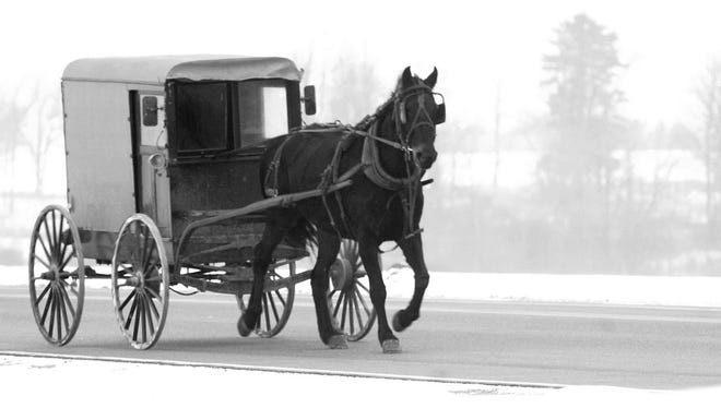 An Amish buggy travels down Highway 97, near Athens.
