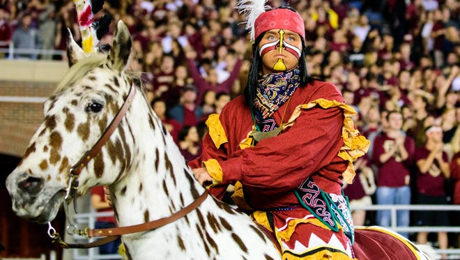 Chief Osceola and Renegade introduce home football games at Doak Campbell Stadium by riding to midfield with a burning spear and planting it in the turf.