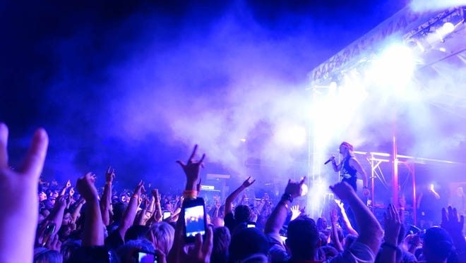 Bret Michaels of Poison plays a free show in Mason City on the 4th night of RAGBRAI XLII Wednesday, July 21, 2014.