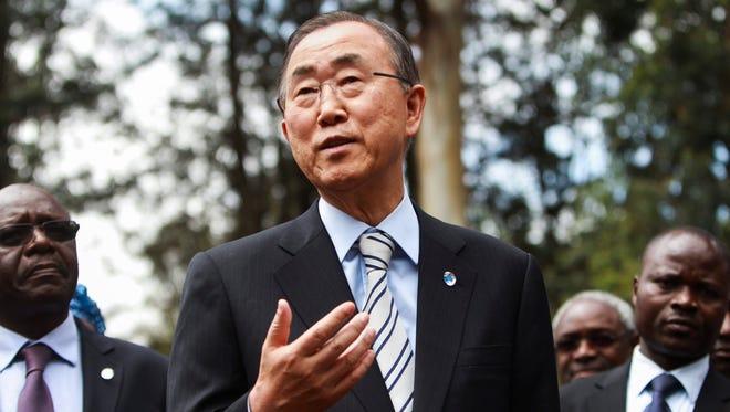 Secretary-General of the United Nations Ban Ki-Moon addresses journalists in Nairobi, Kenya, on June 28, 2014.