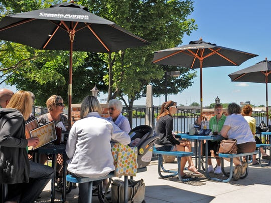 Fox Harbor Pub and Grill has a patio that overlooks the Fox River.