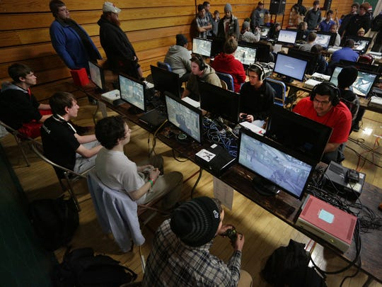 Competitors play at the Evercon gaming convention at