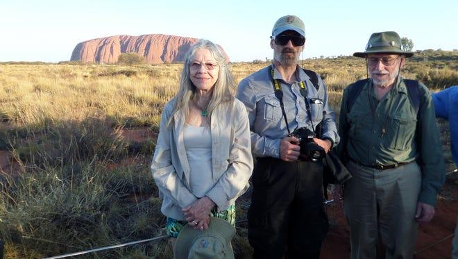 Doris Cellarius, Paata Shanshiashvili and Richard Cellarius near Ayres Rock in Australia.