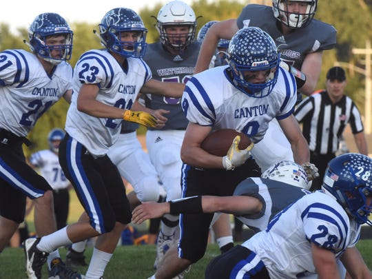 Canton High School Kayden Verley (9) runs the ball