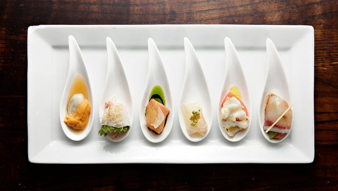 The Daily selection of sashimi, served 6 different ways, from Nobuo at Teeter House, in Heritage Square.