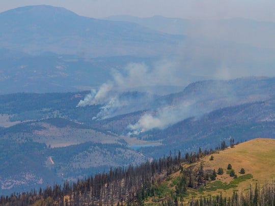 A view of the Brian Head fire as it continues to burn