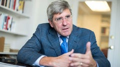 UNITED STATES - AUGUST 31: Stephen Moore of The Heritage Foundation is interviewed by CQ in his Washington office, August 31, 2016. (Photo By Tom Williams/CQ Roll Call) (CQ Roll Call via AP Images) [Via MerlinFTP Drop]
