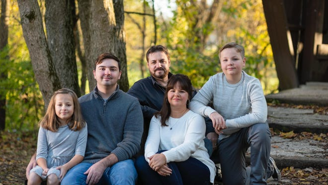 The Roth family, from left, Lea, 10, Nick, 21, Jerry, Patricia and Jesse, 12. Patricia will be home-schooling Lea and Jesse this year after Pickerington schools announced they will be holding in-person classes just twice a week.