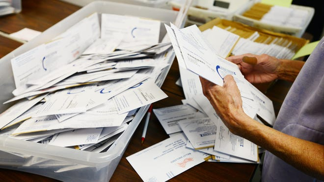 Ballots are sorted at the Marion County Elections Office at Courthouse Square in downtown Salem on Tuesday, Nov. 4, 2014.