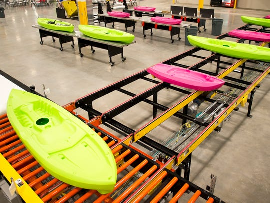 Kayaks made by Lifetime Products are displayed at a