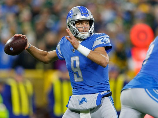 Oct 14, 2019; Green Bay, WI, USA; Detroit Lions quarterback Matthew Stafford (9) throws a pass during the second quarter against the Green Bay Packers at Lambeau Field. Mandatory Credit: Jeff Hanisch-USA TODAY Sports
