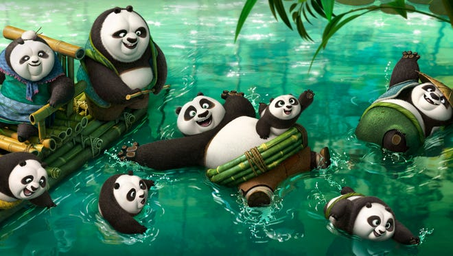 """Kung Fu Panda Po (center) finds out he's not the only panda alive in """"Kung Fu Panda 3."""" In fact, it's Panda-polooza as he hangs out in the cool springs. """"There's intense rejoicing, I'm reunited with my people,"""" says Jack Black, who voices Po."""